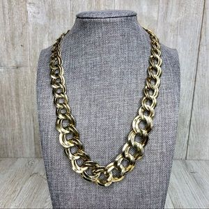Graduated Double Open Link Gold Chunky Necklace